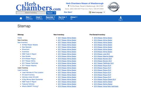 Screenshot of Site Map Page herbchambersnissanofwestborough.com - Herb Chambers Nissan of Westborough   New Inventory for sale in Westborough, MA 01581 - captured May 18, 2017