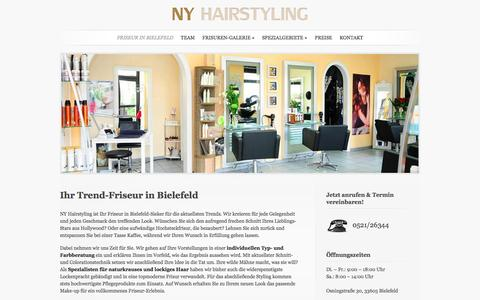 Screenshot of Home Page ny-hairstyling.de - Friseur NY Hairstyling in Bielefeld-Sieker - captured June 9, 2016