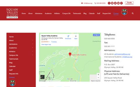 Screenshot of Contact Page sva.org - Contact Squaw Valley Academy California Boarding School – Squaw Valley Academy – Nationally Acclaimed, College-Preparatory Boarding School With 100% College Acceptance Rate. A California boarding school serving an international community of scholars. - captured July 13, 2018