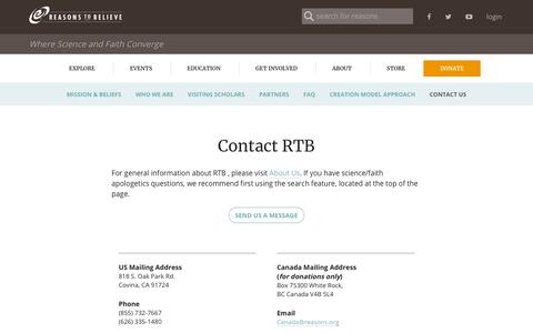 Screenshot of Contact Page reasons.org - Contact Us - captured Sept. 23, 2018