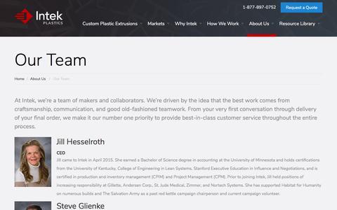 Screenshot of Team Page intekplastics.com - Our Team - Intek Plastics - captured Sept. 19, 2018