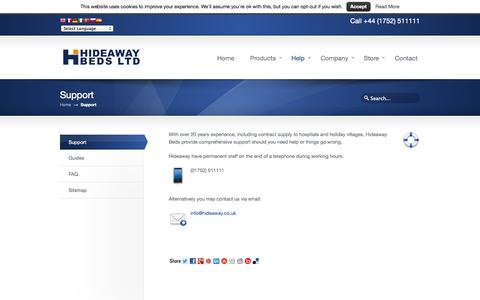 Screenshot of Support Page hideaway.co.uk - Support | Wall Beds, Folding Wall Beds, Wallbeds by Hideaway Beds Ltd - captured Oct. 1, 2014