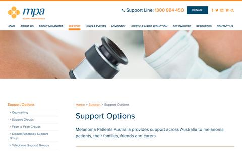Screenshot of Support Page melanomapatients.org.au - Melanoma Patients Australia - Support Options - captured Oct. 5, 2017