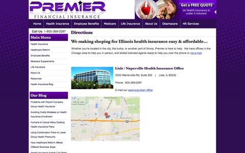Screenshot of Maps & Directions Page pfichicago.com - Directions | Premier Financial Insurance Chicago Illinois - captured Nov. 2, 2014