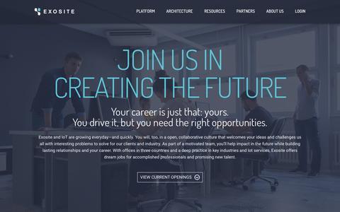 Screenshot of Jobs Page exosite.com - Careers | Exosite - captured Dec. 4, 2015