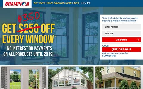 Screenshot of Landing Page championwindow.com - GET EXCLUSIVE SPRING SAVINGS NOW UNTIL APRIL 15! - captured July 3, 2017