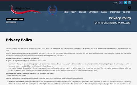 Screenshot of Privacy Page allagashgroup.com - Privacy Policy - Allagash Group - captured Feb. 5, 2016