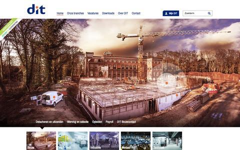 Screenshot of Home Page ditpersoneel.nl - DIT Personeel: uitzenden, detacheren en opleiden - captured June 17, 2015