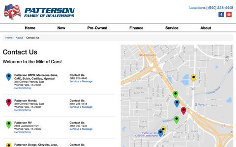 Screenshot of Contact Page Locations Page pattersonauto.com - Contact Patterson Auto Group in  Texas - captured July 9, 2017