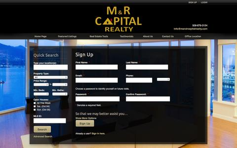 Screenshot of Signup Page mandrcapitalrealty.com - Sign Up - captured Oct. 3, 2014