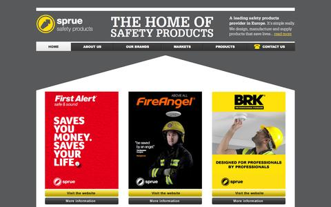 Screenshot of Home Page sprue.com - Sprue Safety Products - captured Sept. 22, 2014