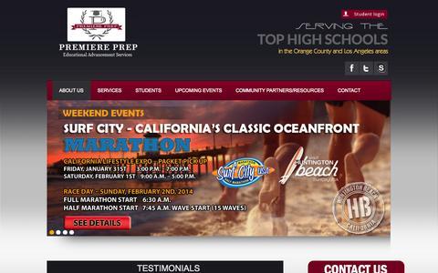 Screenshot of Testimonials Page premiereprep.net - Testimonials - College Preparation And College Counselor Orange County - captured Sept. 30, 2014