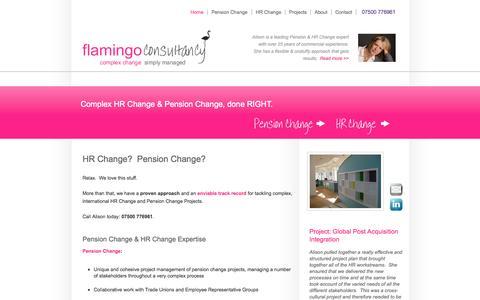 Screenshot of Home Page flamingoconsultancy.co.uk - HR Change & Pension Change | Flamingo Consultancy - captured Sept. 30, 2014