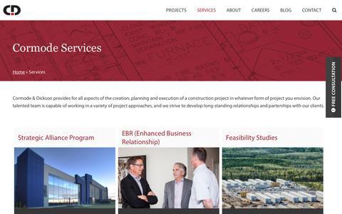 Screenshot of Services Page cormode.com - Services - Cormode - captured Feb. 1, 2016