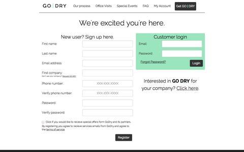 Screenshot of Signup Page thegodry.com - GoDry - captured Oct. 1, 2014