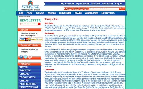 Screenshot of Terms Page pacificplaytents.com - Terms of use - captured Sept. 26, 2014