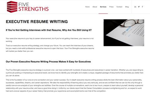 Screenshot of Services Page fivestrengths.com - Five Strengths: Executive Resume Writing - captured Aug. 27, 2016