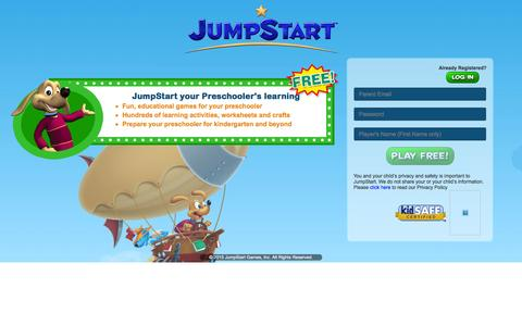 Screenshot of Landing Page jumpstart.com - Play Fun Games for Kids | Online Virtual World | JumpStart - captured Aug. 17, 2016