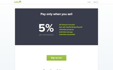 Screenshot of Pricing Page sellfy.com - Pricing - Sellfy.com - captured Sept. 17, 2014
