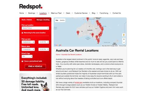 Screenshot of Locations Page redspot.com.au - Australia Car Rental Locations   Redspot Car Rentals - captured Feb. 14, 2016