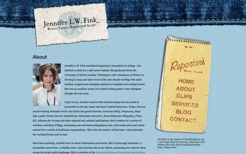 Screenshot of About Page jenniferlwfink.com - About   Jennifer L.W. Fink - captured March 8, 2016