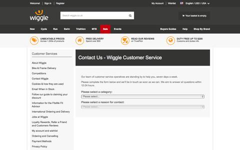 Screenshot of Contact Page wiggle.co.uk - Wiggle Customer Services - captured Oct. 20, 2015