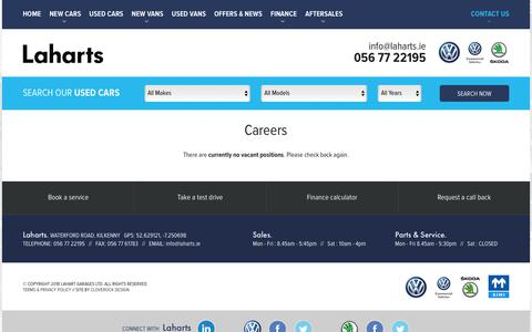 Screenshot of Jobs Page laharts.ie - Careers at Lahart Garages Kilkenny - captured Sept. 26, 2018