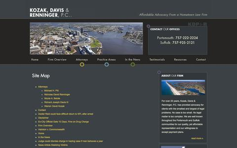 Screenshot of Site Map Page kozakfirm.com - Site Map | Kozak, Davis & Renninger, P.C. | Portsmouth Virginia - captured Oct. 1, 2014