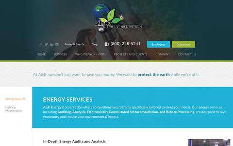 Screenshot of Services Page akenergy.com - Energy Services - AK Energy - captured Nov. 11, 2018