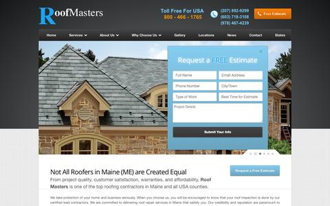 Screenshot of Home Page roofmasterscorp.com - Me Roofers – Roofing Contractors in Maine, Roof Repair Companies - captured Oct. 7, 2014
