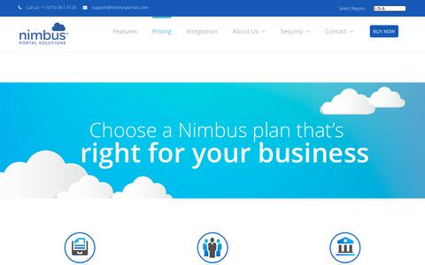 Screenshot of Pricing Page nimbusportals.com - Pricing - Nimbus - captured Oct. 23, 2017