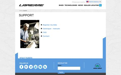 Screenshot of Support Page lapierrebikes.ca - Support | Cycles Lapierre - captured Jan. 20, 2016