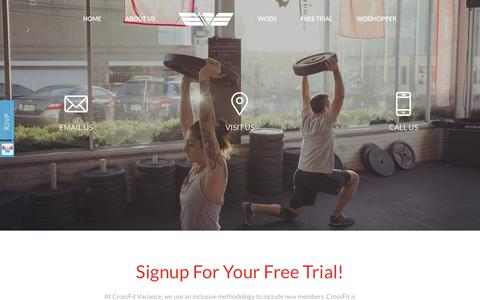 Screenshot of Trial Page crossfitvariance.com - Sign Up For Your First Class! - captured Nov. 21, 2018