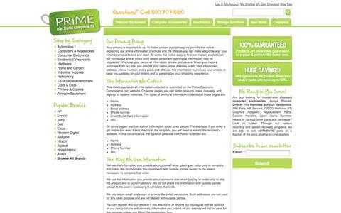 Screenshot of Privacy Page primelec.com - Privacy Policy - captured Sept. 23, 2014