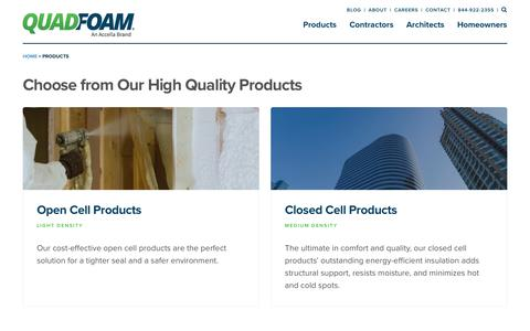 Screenshot of Products Page quadfoam.com - Products Archive - QuadFoam - captured Sept. 28, 2018