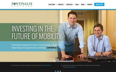 Screenshot of Home Page fontinalis.com - Fontinalis Partners - Investing in the future of mobility - captured Jan. 24, 2015
