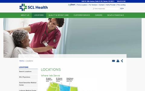Screenshot of Locations Page sclhealthsystem.org - SCL Health Hospital and Clinic Locations - SCL Health System - captured Sept. 22, 2014