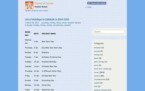 Screenshot of Blog travelehome.com - Travelehome | Blogs - captured Oct. 25, 2014