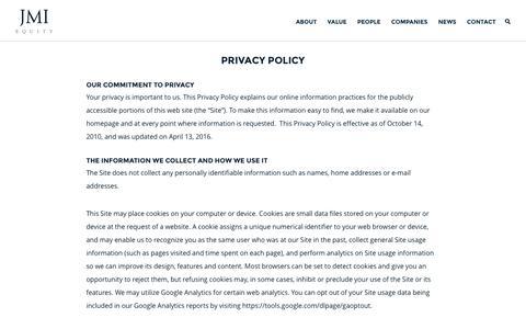 Screenshot of Privacy Page jmi.com - JMI Equity – Privacy Policy - captured Nov. 18, 2016