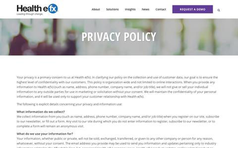 Screenshot of Privacy Page healthefx.us - Privacy Policy | Health e(fx) - captured Nov. 14, 2019
