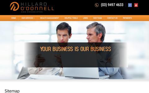 Screenshot of Site Map Page hillardodonnell.com.au - Sitemap - Hillard O'Donnell & Associates - captured Aug. 14, 2017