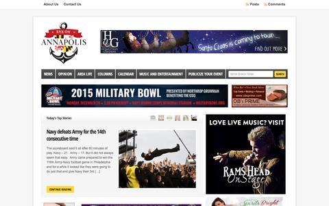 Screenshot of Home Page eyeonannapolis.net - Eye on Annapolis--news, events, entertainment, and opinion for Anne Arundel County. - captured Dec. 14, 2015