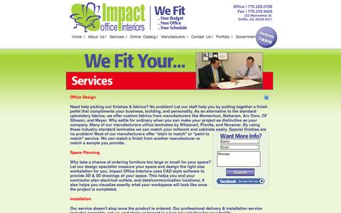 Screenshot of Services Page impactofficeinteriors.com - Impact Office Interiors - captured Oct. 6, 2014