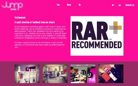 Screenshot of Testimonials Page jumpresponse.com - Integrated Marketing Agency, Leeds | Jump Response - captured Jan. 9, 2016