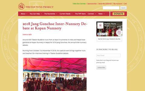 Screenshot of Blog Press Page tnp.org - News - Tibetan Nuns Project - captured Oct. 26, 2018