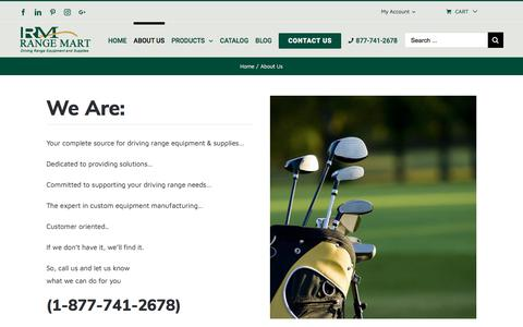 Screenshot of About Page rangemart.com - About Us   Golf & Driving Range Supplies   Range Mart - captured Sept. 21, 2018