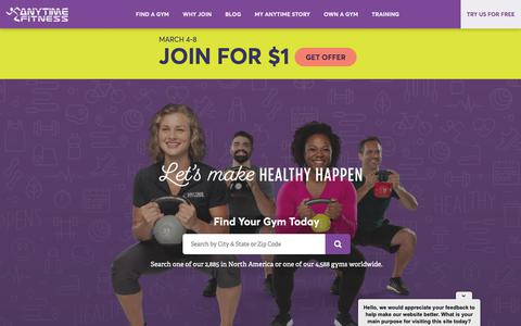 Screenshot of Home Page anytimefitness.com - Anytime Fitness | Let's Make Healthy Happen - captured March 8, 2019