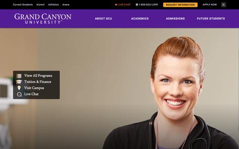 Screenshot of Home Page gcu.edu - Private Christian University | Grand Canyon University – Phoenix AZ - captured April 1, 2018