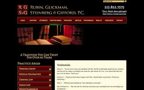 Screenshot of Testimonials Page rgsglaw.com - Testimonials | Rubin, Glickman, Steinberg and Gifford, P.C. | Montgomery County Pennsylvania - captured Oct. 6, 2014