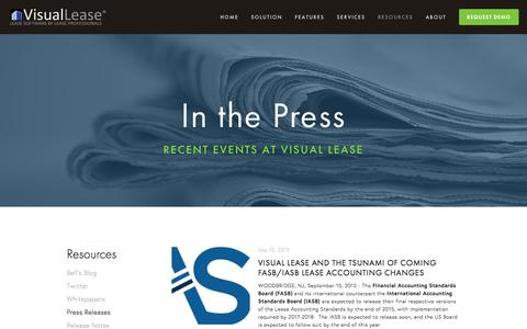 Screenshot of Press Page visuallease.com - Press Releases Ń Lease Administration Software, Lease Management Software, Lease Abstract Software, Lease Software - captured Jan. 11, 2016